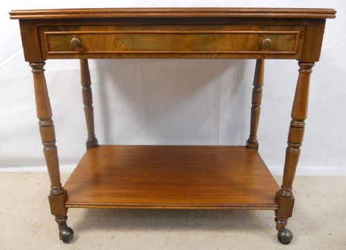 Walnut Two Tier Serving Table on Castor Feet